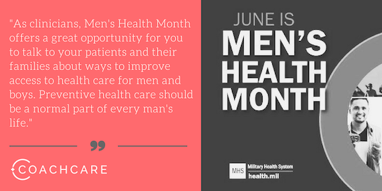 As clinicians, Men's Health Month offers a great opportunity for you to talk to your patients and their families about ways to improve access to health care for men and boys.
